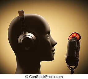Disc Jockey - Microphone in front of the human head.