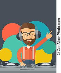 Disc jockey mixing music.