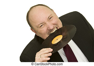 disc jockey - funny disc jockey with record