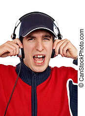 Disc jockey shouting - Disc jockey with headphones shouting ...