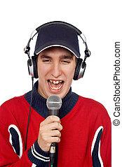 Disc jockey singing - Disc jockey with headphones and ...