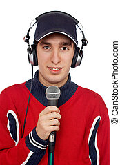 Disc jockey with headphones and microphone on white...