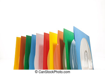 Multiple disc sleeves, standing on a clean background with a disc showing in the first window.