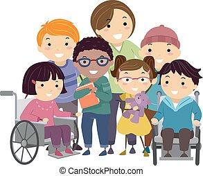 discapacitada / discapacitado, enfermera, niños, stickman