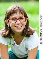 discapacitada / discapacitado, girl., encima de cierre, retrato
