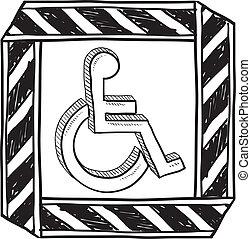 discapacitada / discapacitado, símbolo, bosquejo