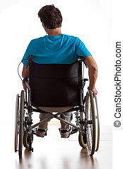 discapacitada / discapacitado, trasero, hombre, vista