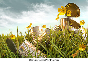 Discarded aluminium cans in tall grass