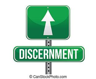 discernment road sign illustration design over a white...