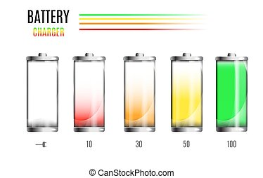 Discharged and fully charged battery. Charging process. Battery charge status. Different states of charged. Isolated on black background. Vector