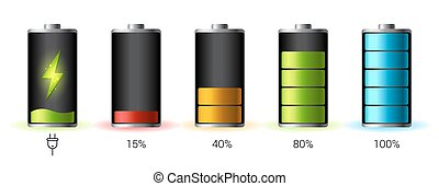 Discharged and fully charged battery smartphone - vector...