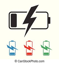 discharged battery icon on a gray background in different colors. Blue red and green symbols