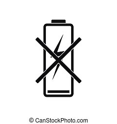 Discharged battery icon, simple style