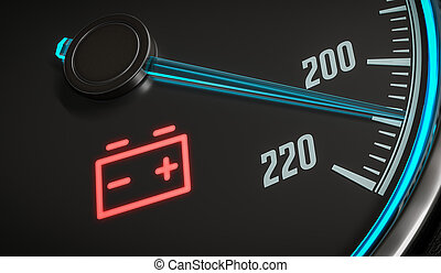 Discharged battery warning light in car dashboard. 3D rendered