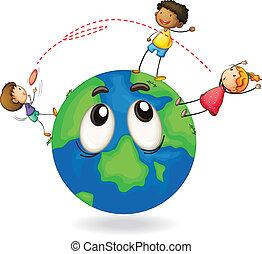 dischetto volante, gioco, bambini