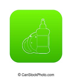 Dischwashing liquid icon green isolated on white background