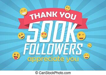 disciples, 500k, emoticon., illustration, vecteur, fond, vous, félicitation, remercier
