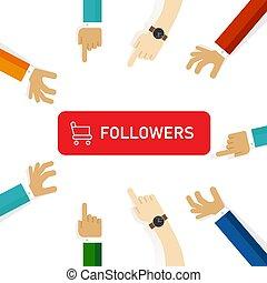 disciples, attention, achat, média, social, obtenir, foule., bouton, chariot