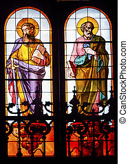 Disciples James Peter Stained Glass San Francisco el Grande Royal Basilica Madrid Spain. Basilica designed in the second half of 1700s, completed by Francisco Sabatini.