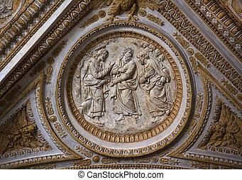disciples, plafond, intérieur, vatican, christ, orné, scullpture