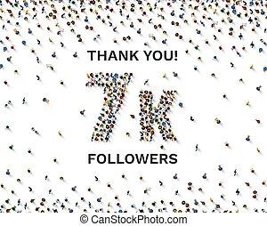 disciples, vous, ligne, groupe, 7k, peuples, célébrer, remercier, social, heureux, bannière, vecteur