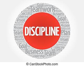 disciplina, círculo, palabra, nube