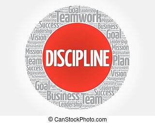 DISCIPLINE circle word cloud, business concept
