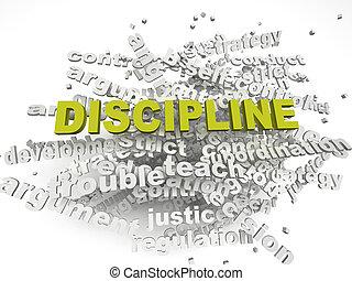 discipline, concept, mot, imagen, questions, fond, nuage, 3d