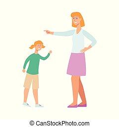 discipline, femme, elle, fâché, caractère, jeune, girl., mère, essayer, enfant, dessin animé, conflit