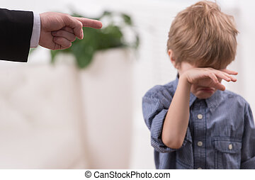discipline, garçon, vilain, père, isolé, son., strict, ...