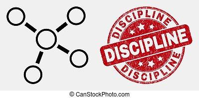 discipline, grunge, postzegel, aansluitingen, vector, zeehondje, omtrek, pictogram