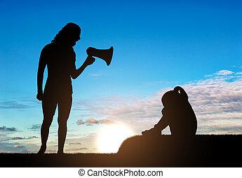 discipline, haut-parleur, peu, cris, elle, pleurer, mère, girl, enseigne