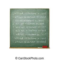 discipline, tableau noir, écrit, message, il