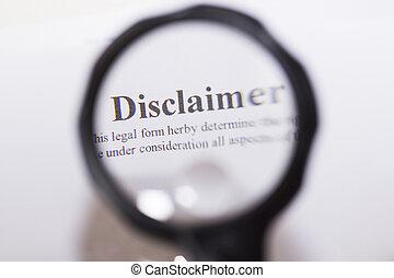 disclaimer, 文書, 書かれた