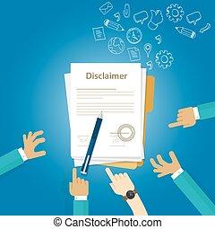 disclaimer, 文書, 署名される, 契約