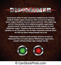 Disclaimer form with buttons