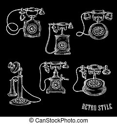 disco, ícones, vindima, telefone, rotativo, esboço