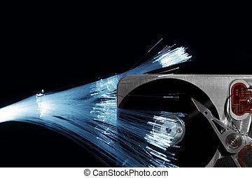 disco, óptica, fibra, impulsión dura