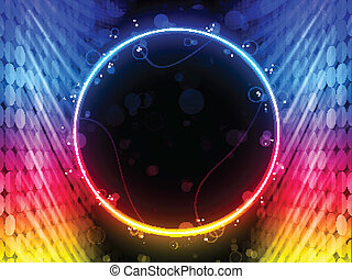 Disco Abstract Circle Box on Black Background - Vector -...