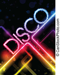 Disco Abstract Colorful Lines on Black Background - Vector -...