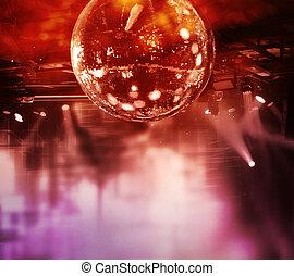 disco acende, bola, coloridos, espelho