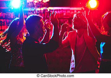 disco, alatt, éjszakai mulató