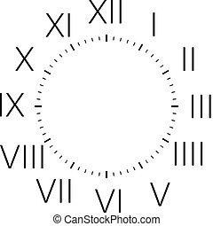 disco, arredondado, vertical, relógio, cantos, romana, pretas, números, sinais, retângulo