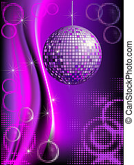 Disco background with mirror ball and abstract circles and...