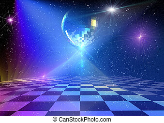 Disco background - Dancing floor with mirror ball. Rendered...