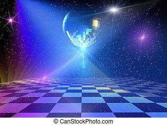 Disco background - Dancing floor with mirror ball. Rendered ...