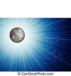 Disco background - Shiny disco mirror ball on a starry...
