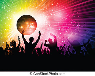 Disco background - Silhouette of a party crowd on a disco...