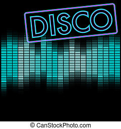 Disco Background - Party Background - Neon Disco Sign and...
