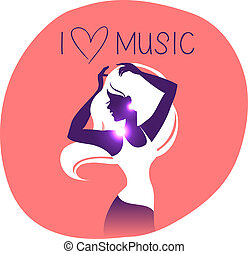 Disco background with dance music girl silhouette